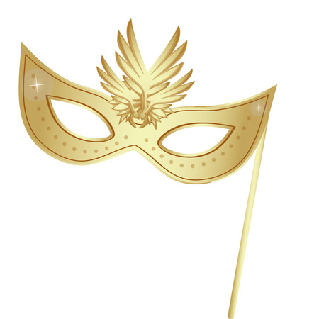 a golden carnival mask with some ornaments in it
