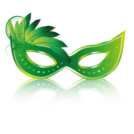 a green carnival masks with some feathers and reflect Vector