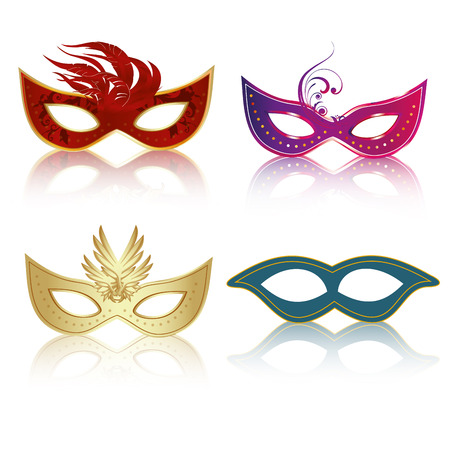 four colored carnival masks with some feathers and textures in them Vector