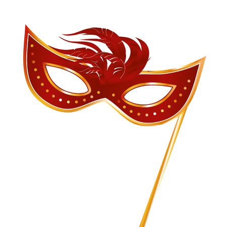 a red carnival mask with some feathers in it Vector