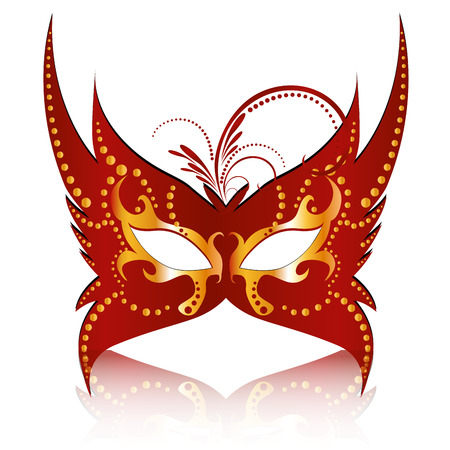 a red carnival mask with some ornaments in it