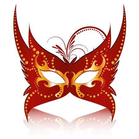 een rode carnaval masker met enkele ornamenten in het Stock Illustratie