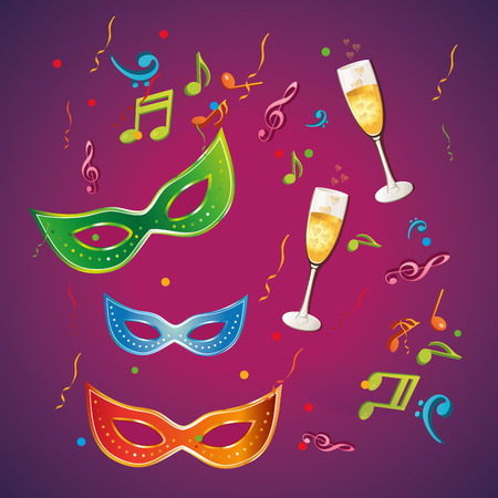 some colored carnival masks with some drinks in a background Vector