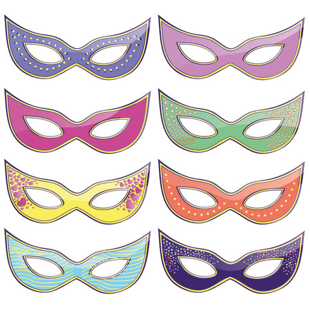 eight colored carnival masks with some textures in them Vector
