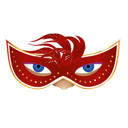 a red carnival mask with some feathers in a face Vector