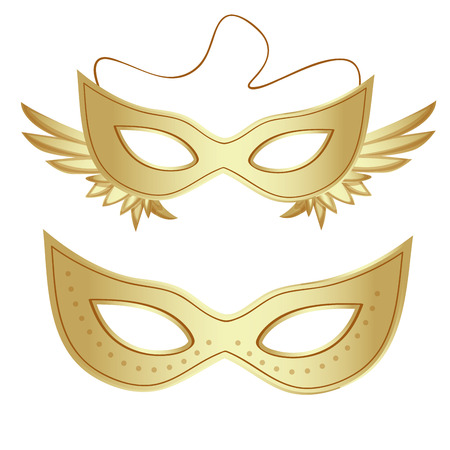 a pair of golden carnival masks with some ornaments in them Vector