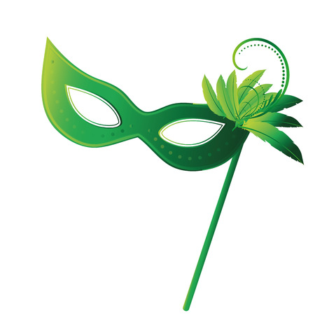 a green carnival masks with some feathers in it