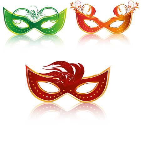 three colored carnival masks with some textures and feathers in them Vector