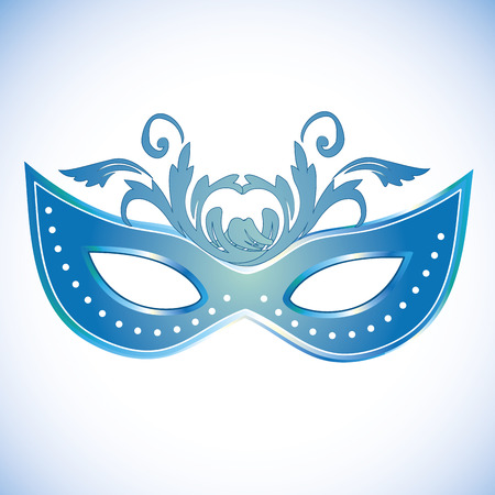 a blue carnival mask with some ornaments in it