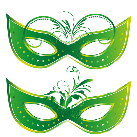 a pair of green carnival masks with some ornaments in them Vector