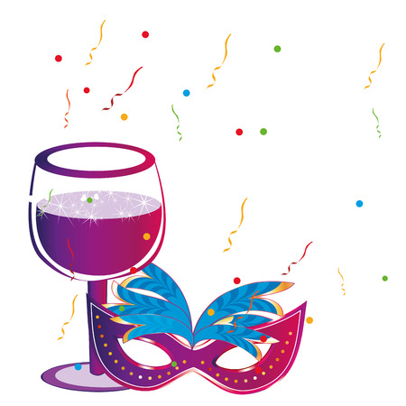 a colored carnival mask and a glass of wine Vector