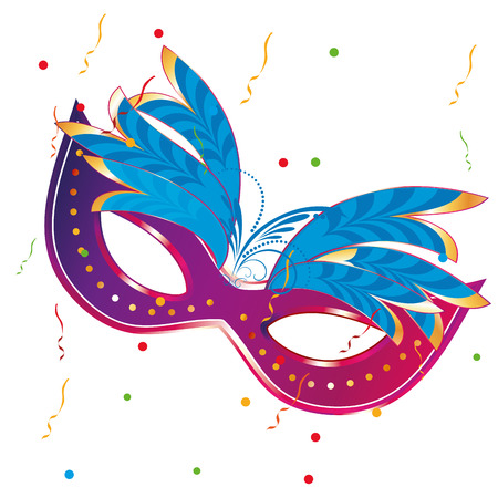 a purple carnival mask with some blue feathers in it Vector