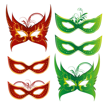 six colored carnival masks with some ornaments in them Vector