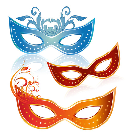 three colored carnival masks with some ornaments in them Vector