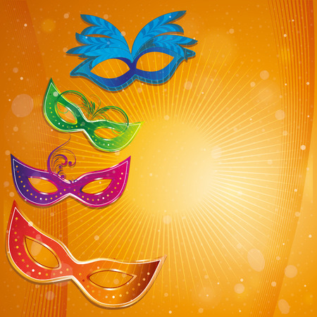 four colored carnival masks with some ornaments in an orange background