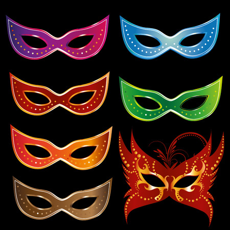 seven colored carnival mask with some ornaments in black background