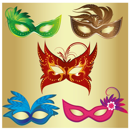 five colored carnival masks with some ornaments and feathers Vector