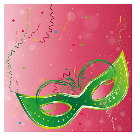 a green carnival mask in a pink background Vector