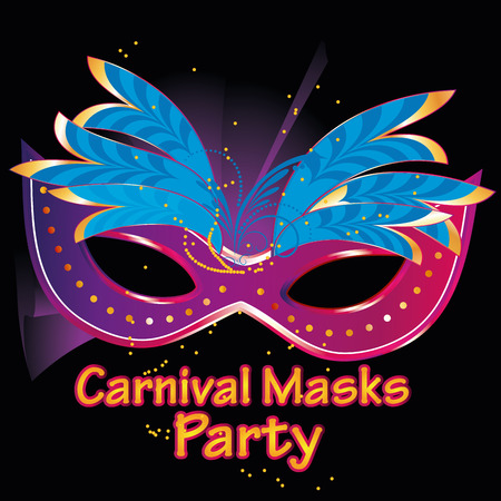 a purple mask with some blue feathers in black background with text Vector