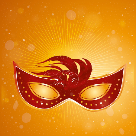 a red carnival mask with some feathers in an orange background Vector