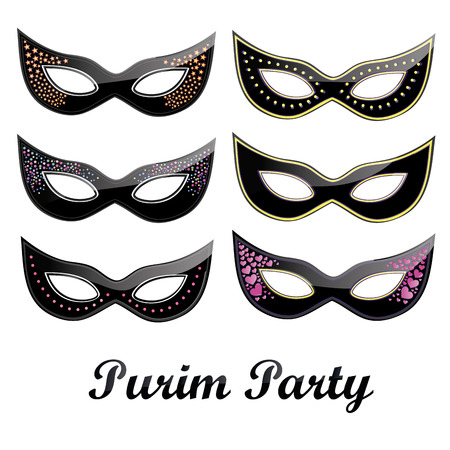 six black carnival masks with some ornaments and text Stock Illustratie