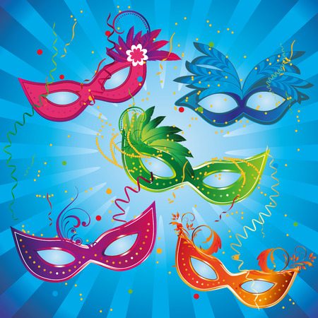 five colored carnival masks with some ornaments in a blue background Vector