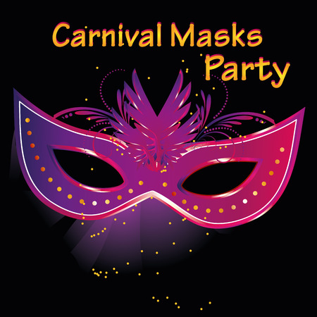 a colored carnival mask with some ornaments in a black background with text Vector