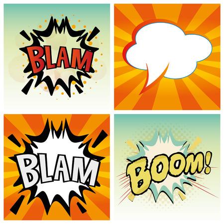 cuatro expresiones cómicas diferentes en fondos de color Ilustración de vector