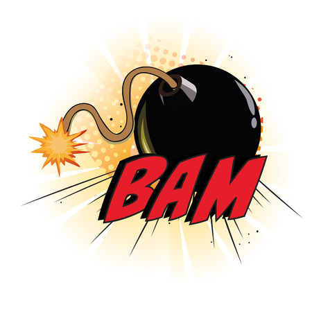a black bomb and some text as a comic expression Vector