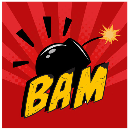a black bomb and some textured yellow text as comic expressions Vector