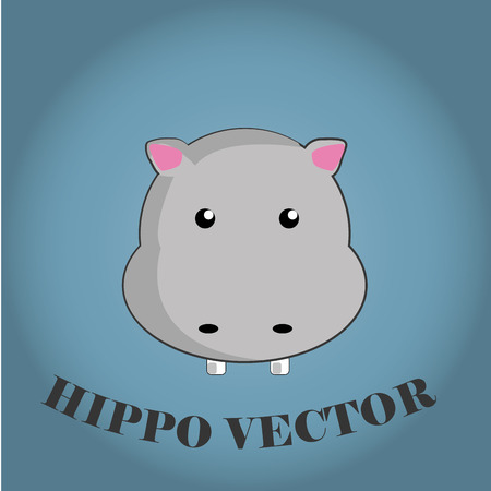 a happy face of a hippo in a blue background Vector