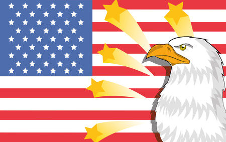 an american eagle with some stars in an american flag Vector