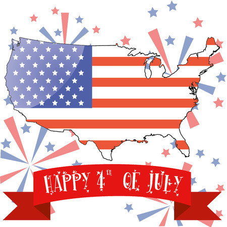the american flag within its country and a ribbon with text for independence day Vector