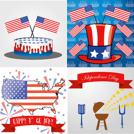 four different backgrounds with different objects for independence day Vector