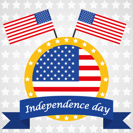 a colored icon with american flags and a ribbon with text Vector