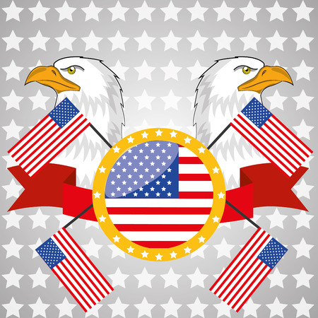 a lot of elements related to american culture in grey background Vector
