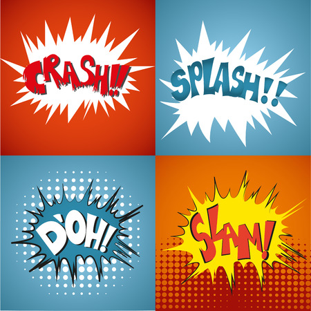 some colored comic expressions in different backgrounds Vector