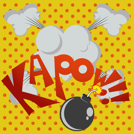 kapow: a colored comic expression in a colored background Illustration