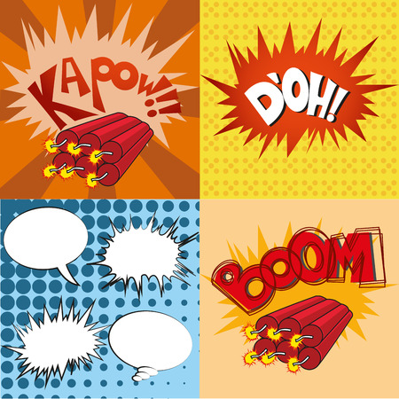 kapow: some colored comic expressions in different backgrounds Illustration