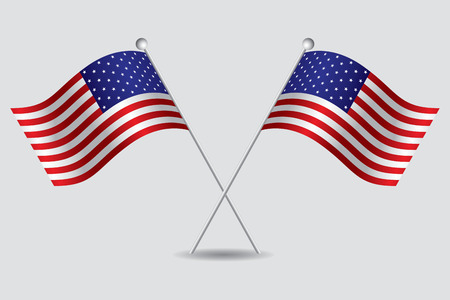 visions of america: a pair of american flags in a grey background Illustration