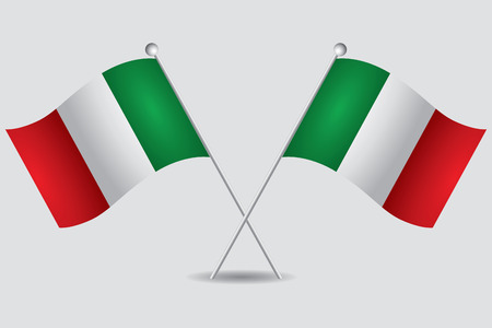 a pair of italian flags in grey background Фото со стока - 29354825