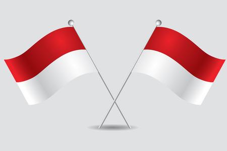 indonesisch: een paar Indonesische vlaggen op een grijze achtergrond