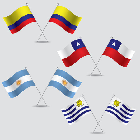 visions of america: a lot of flags of colombia, chile, argentina and uruguay in grey background