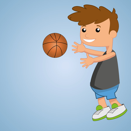 a happy boy playing with a basketball ball in blue background Vector