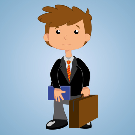 happy businessman: a happy businessman in a blue background Illustration