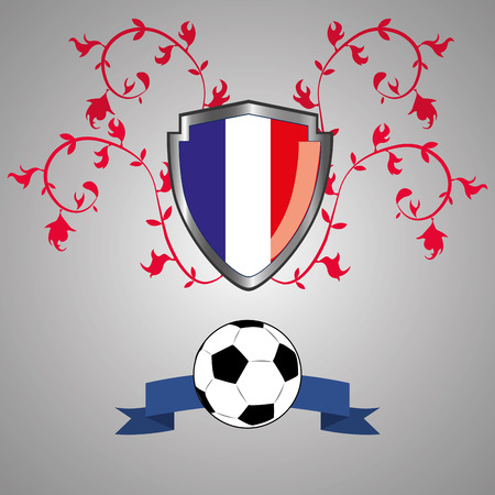 a heraldry shield with the flag of france, a ribbon and a soccer ball Vector