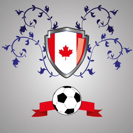 a heraldry shield with the flag of canada, a ribbon and a soccer ball Vector
