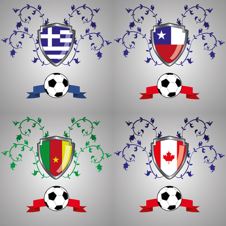 four heraldry shields with different flags within them Vector
