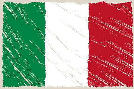 the italian flag with some grunge textures Illusztráció