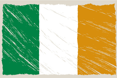 the flag of ireland with some grunge textures Vector